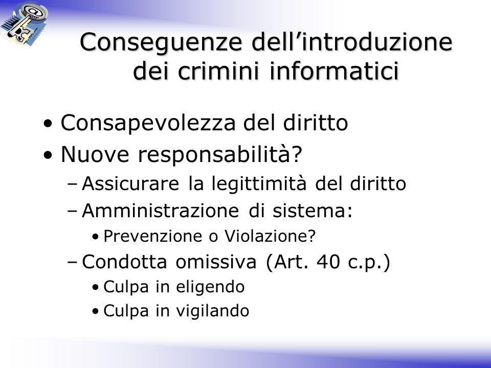 Conseguenze dell'introduzione dei crimini informatici Consapevolezza del diritto Nuove responsabilità.