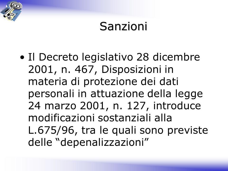 Sanzioni Il Decreto legislativo 28 dicembre 2001, n.