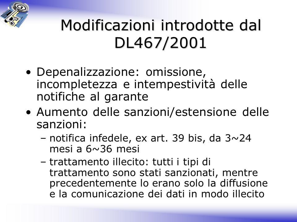 Modificazioni introdotte dal DL467/2001 Depenalizzazione: omissione, incompletezza e intempestività delle notifiche al garante Aumento delle sanzioni/estensione delle sanzioni: –notifica infedele, ex art.