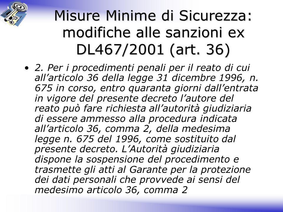 Misure Minime di Sicurezza: modifiche alle sanzioni ex DL467/2001 (art.