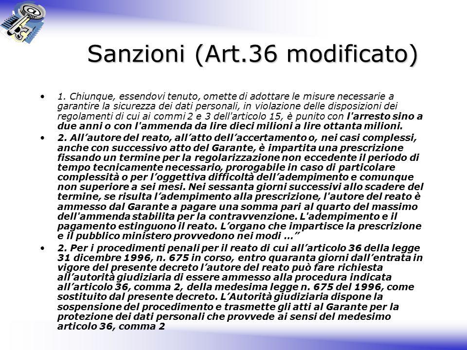 Sanzioni (Art.36 modificato) 1.