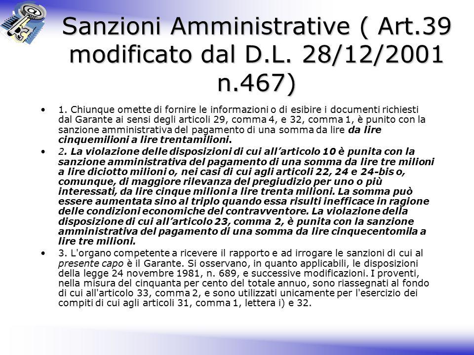 Sanzioni Amministrative ( Art.39 modificato dal D.L.