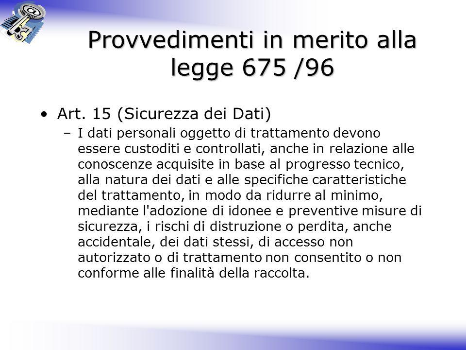 Provvedimenti in merito alla legge 675 /96 Art.