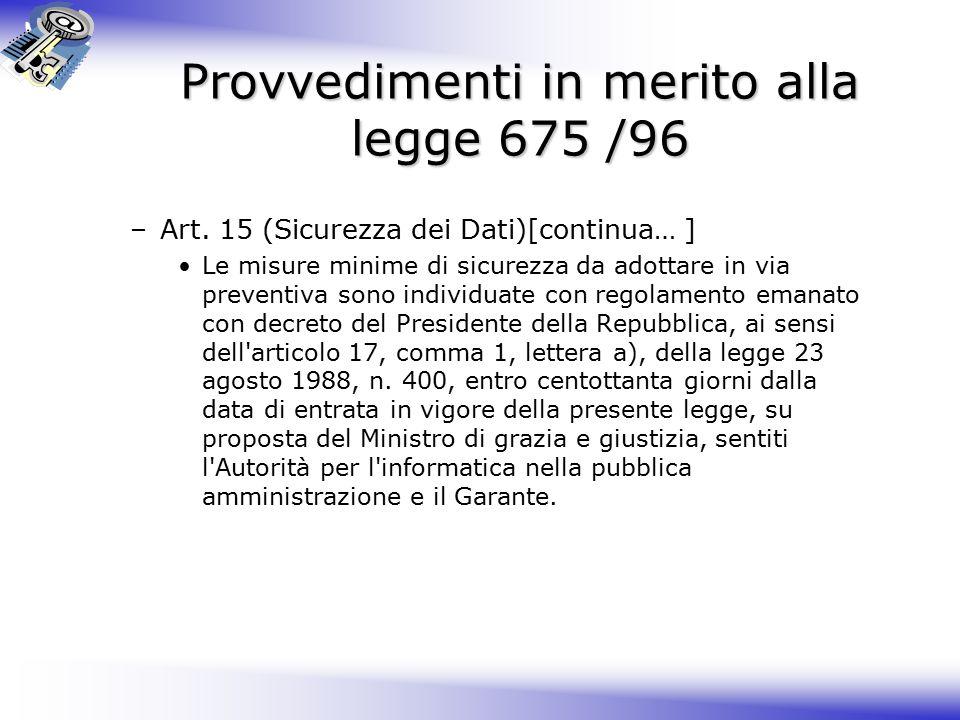 Provvedimenti in merito alla legge 675 /96 –Art.