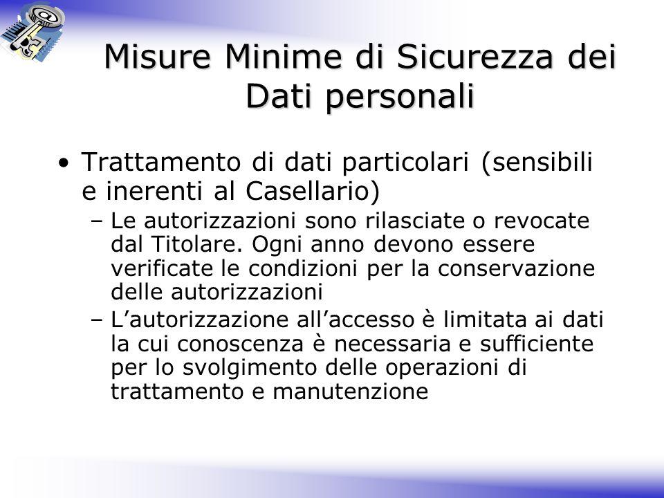 Misure Minime di Sicurezza dei Dati personali Trattamento di dati particolari (sensibili e inerenti al Casellario) –Le autorizzazioni sono rilasciate o revocate dal Titolare.