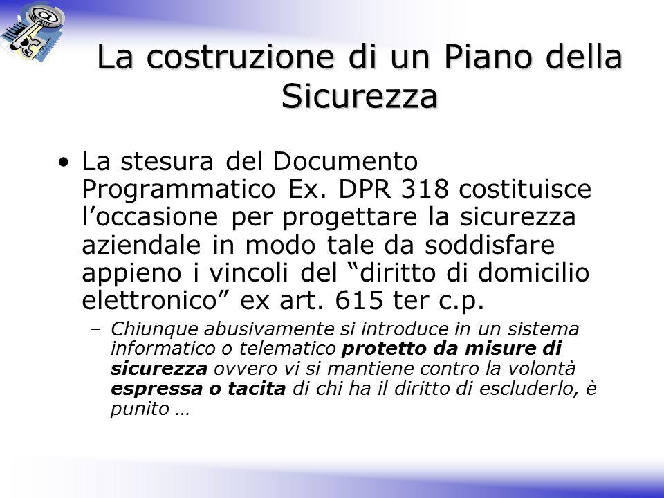La costruzione di un Piano della Sicurezza La stesura del Documento Programmatico Ex.