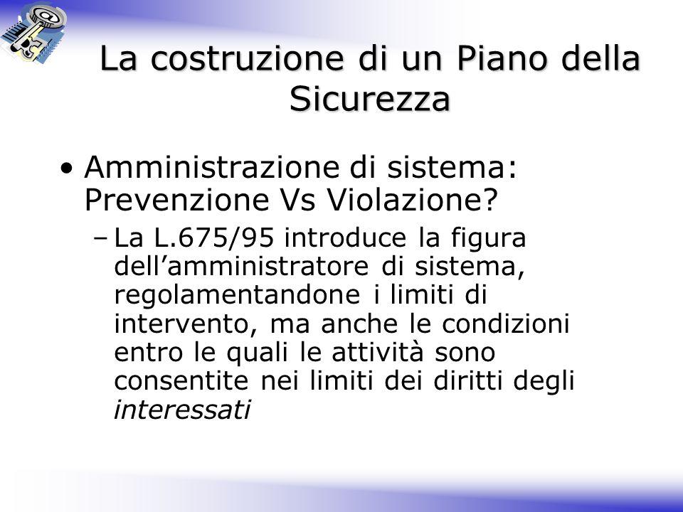 La costruzione di un Piano della Sicurezza Amministrazione di sistema: Prevenzione Vs Violazione.