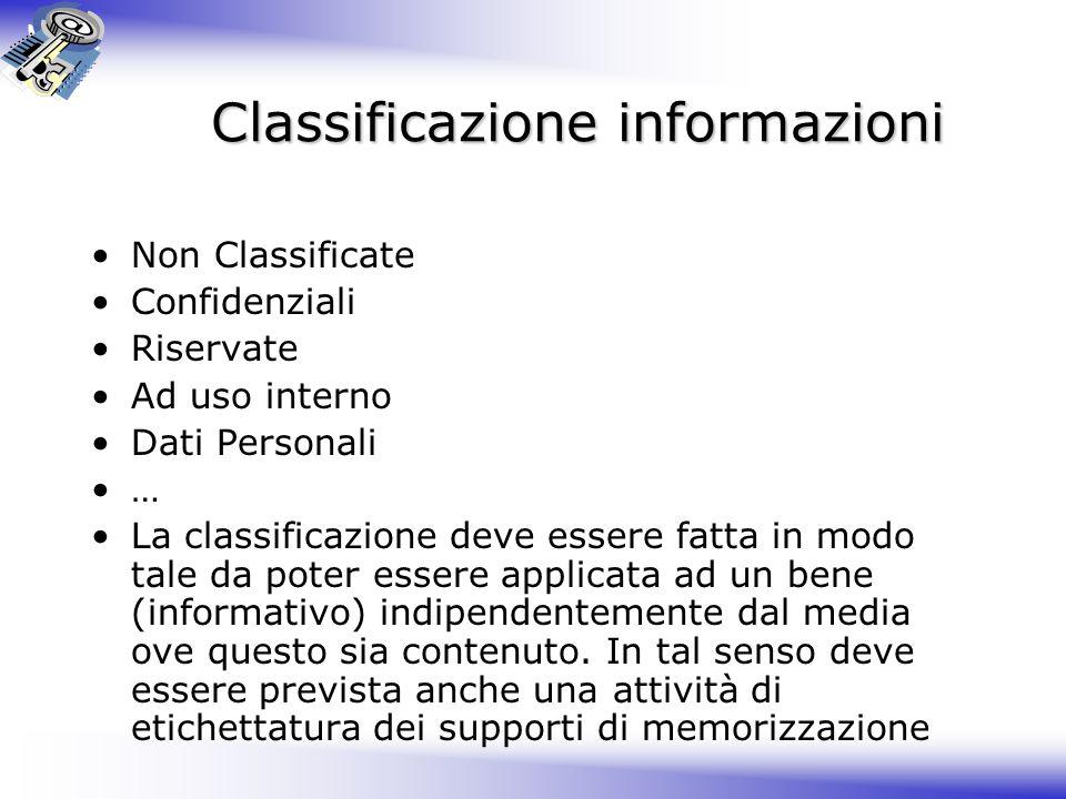 Classificazione informazioni Non Classificate Confidenziali Riservate Ad uso interno Dati Personali … La classificazione deve essere fatta in modo tale da poter essere applicata ad un bene (informativo) indipendentemente dal media ove questo sia contenuto.