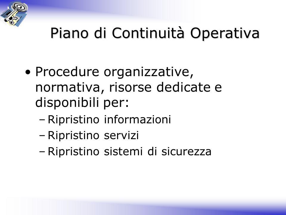 Piano di Continuità Operativa Procedure organizzative, normativa, risorse dedicate e disponibili per: –Ripristino informazioni –Ripristino servizi –Ripristino sistemi di sicurezza