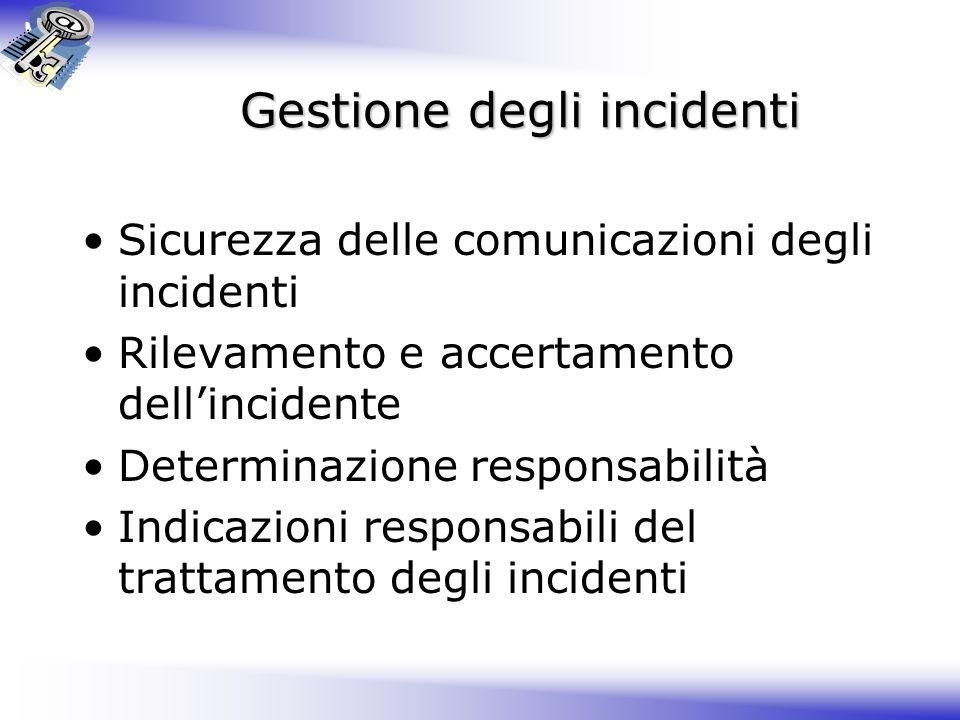 Gestione degli incidenti Sicurezza delle comunicazioni degli incidenti Rilevamento e accertamento dell'incidente Determinazione responsabilità Indicazioni responsabili del trattamento degli incidenti