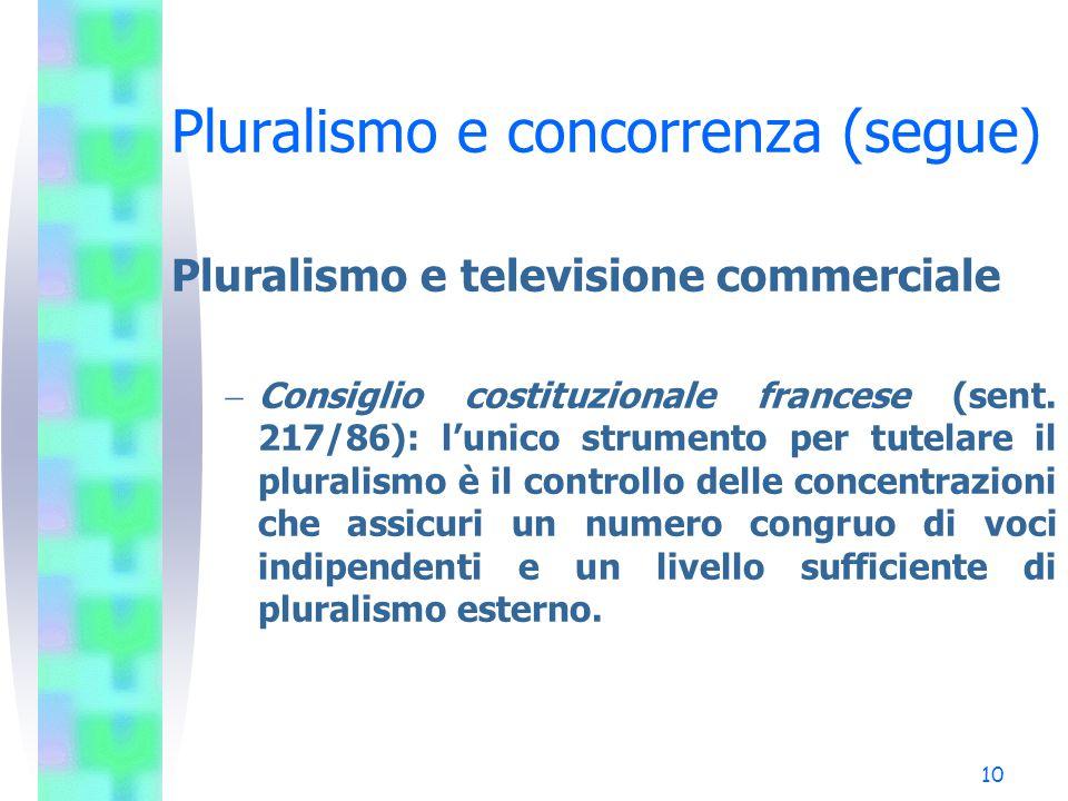 9 Pluralismo e concorrenza (segue) Pluralismo e televisione commerciale  Corte costituzionale tedesca (sentt. 12205/61, 31314/71, 73118/86): il liber