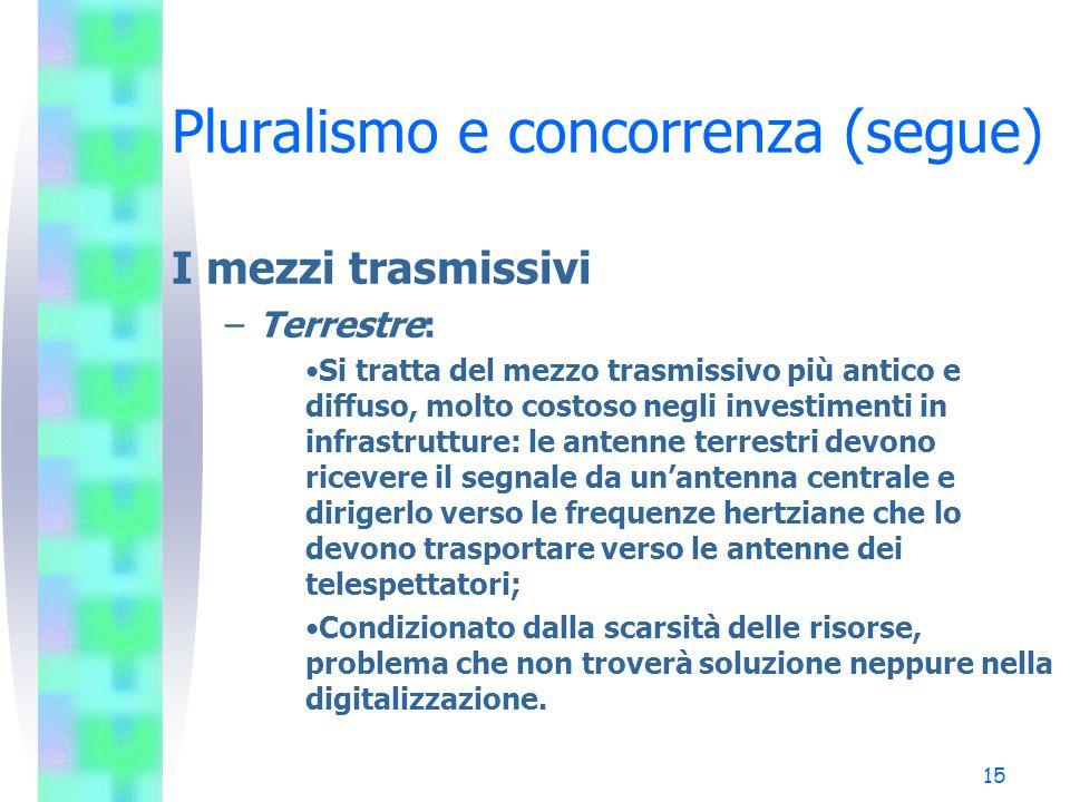 14 Pluralismo e concorrenza (segue) Il mercato televisivo –Televisione gratuita: Produzione, Programmazione (packaging) Trasmissione. –Televisione a p