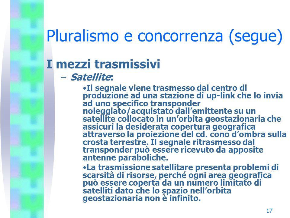 16 Pluralismo e concorrenza (segue) I mezzi trasmissivi –Cavo: Mezzo trasmissivo unidirezionale dove un operatore, una volta ricevuti i canali tramite