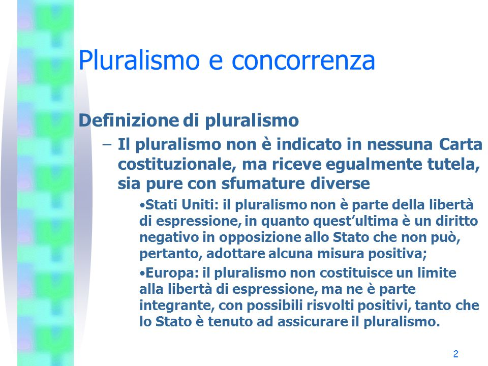 1 Le leggi di sistema La legge Mammì (223/90) Sentenza n.