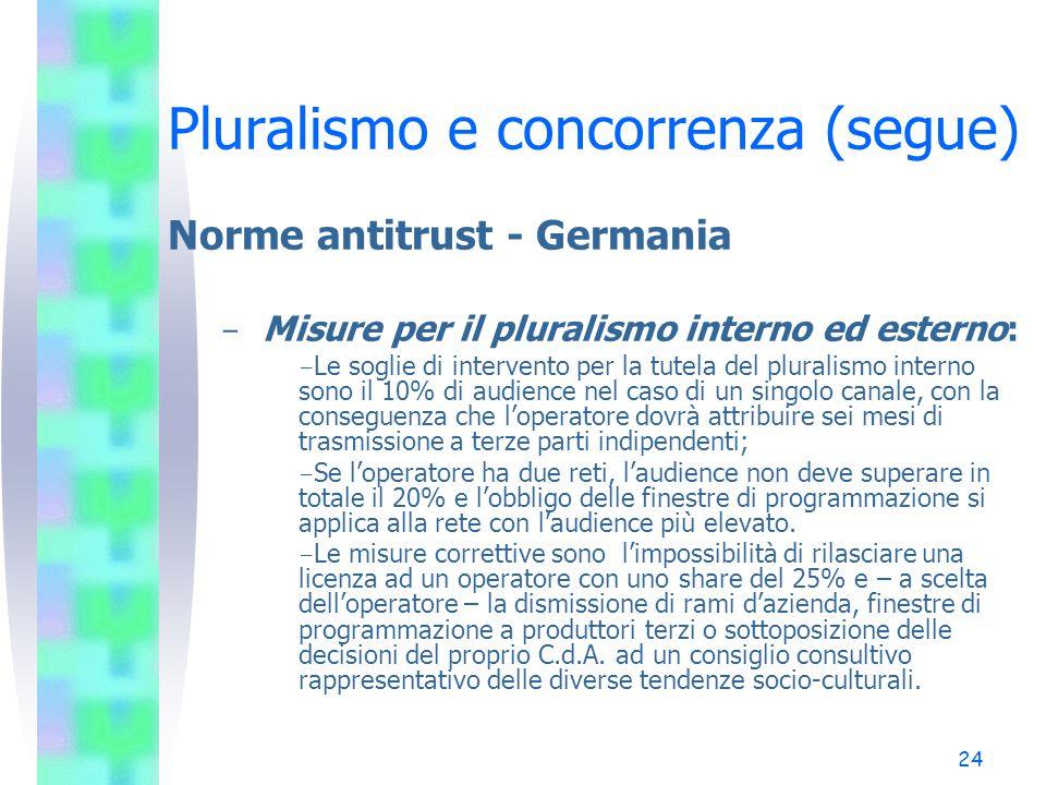 23 Pluralismo e concorrenza (segue) Norme antitrust - Germania - Potere dominante sulle opinioni: - il pluralismo esterno è garantito se nessun operatore esercita un potere dominanti sulla formazione delle opinioni.