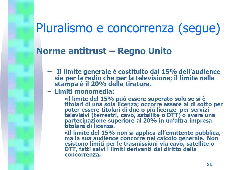 24 Pluralismo e concorrenza (segue) Norme antitrust - Germania - Misure per il pluralismo interno ed esterno: - Le soglie di intervento per la tutela