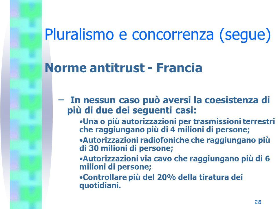 27 Pluralismo e concorrenza (segue) Norme antitrust - Francia – Trasmissioni terrestri: Max 1 licenza per soggetto; Max 49% del capitale nelle emitten