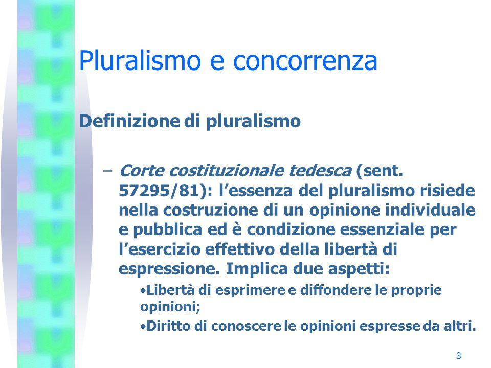 2 Pluralismo e concorrenza Definizione di pluralismo –Il pluralismo non è indicato in nessuna Carta costituzionale, ma riceve egualmente tutela, sia p