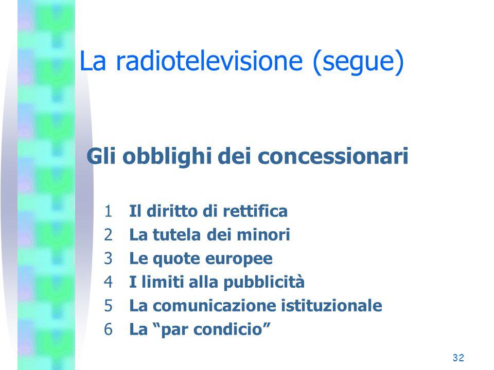 31 Pluralismo e concorrenza (segue) Norme antitrust - Italia – Limiti incrociati Le imprese, i cui ricavi nel settore delle telecomunicazioni sono superiori al 40% dei ricavi complessivi di quel settore, non possono conseguire nel SIC ricavi superiori al 10% del sistema medesimo.