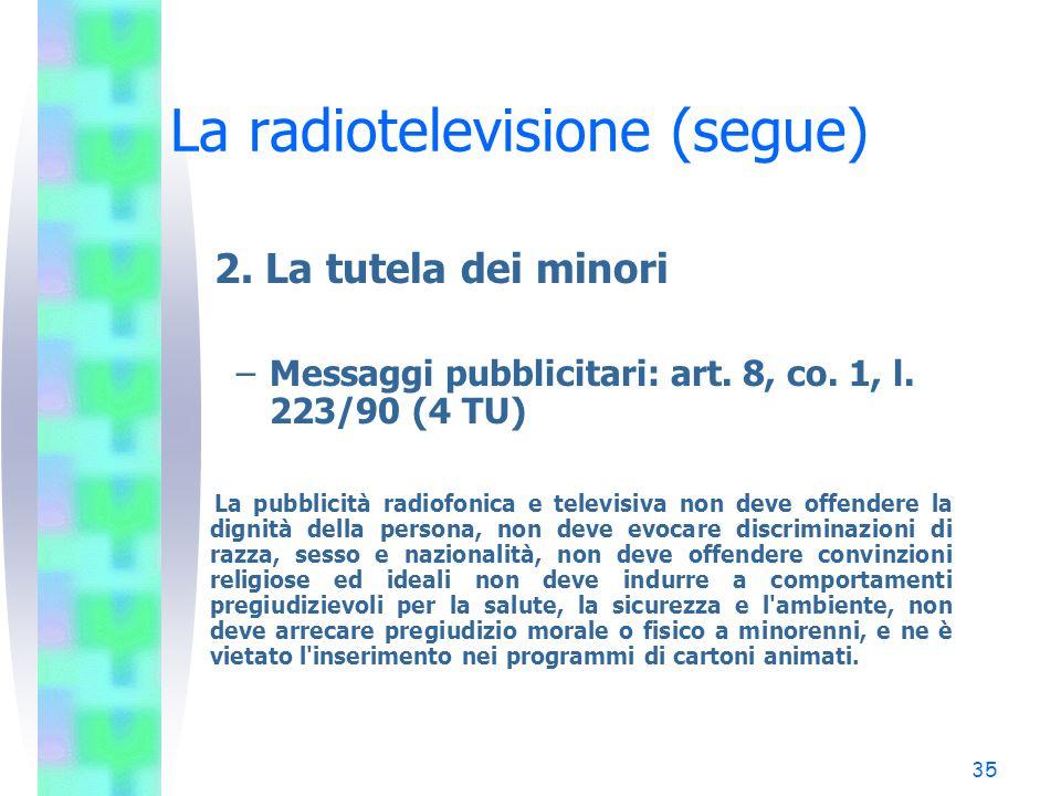 34 La radiotelevisione (segue) 1. Il diritto di rettifica (segue) –Art. 10, co. 3 e 4, l. 223/90 (32 TU) 3. La rettifica è effettuata entro quarantott