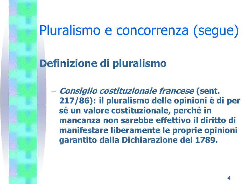 3 Pluralismo e concorrenza Definizione di pluralismo –Corte costituzionale tedesca (sent. 57295/81): l'essenza del pluralismo risiede nella costruzion