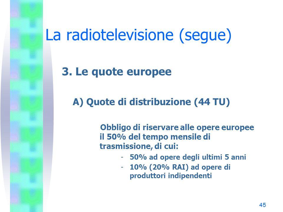 44 La radiotelevisione (segue) 2. La tutela dei minori (segue) –Il codice di autoregolamentazione TV e minori del 2002 (34 TU) La partecipazione dei m
