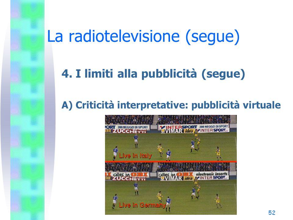 51 La radiotelevisione (segue) 4. I limiti alla pubblicità (segue) A) Criticità interpretative: sovrimpressioni