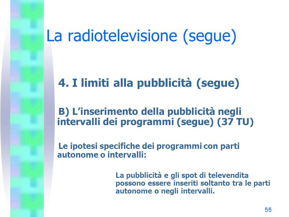 54 La radiotelevisione (segue) 4. I limiti alla pubblicità (segue) B) L'inserimento della pubblicità negli intervalli dei programmi (37 TU) Il princip