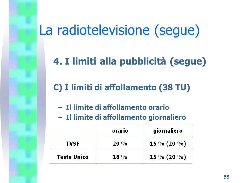 57 La radiotelevisione (segue) 4. I limiti alla pubblicità (segue) B) L'inserimento della pubblicità negli intervalli dei programmi (segue) (37 TU) Il