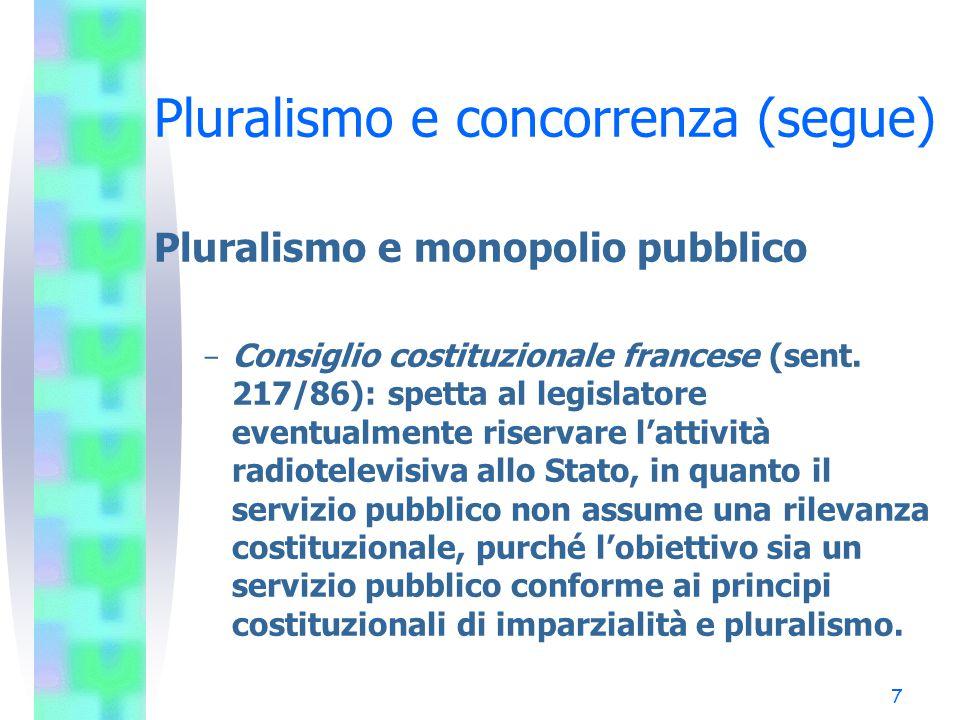 6 Pluralismo e concorrenza (segue) Pluralismo e monopolio pubblico - Corte costituzionale tedesca (sent. 12205/61): nel confronto con la stampa, la te
