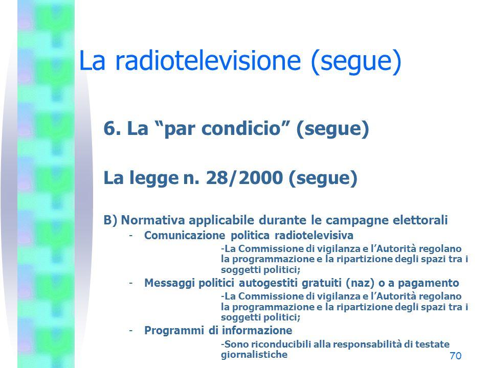 """69 La radiotelevisione (segue) 6. La """"par condicio"""" (segue) La legge n. 28/2000 (segue) A) Normativa applicabile nei periodi non elettorali -Comunicaz"""