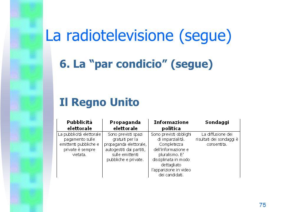 74 La radiotelevisione (segue) 6. La par condicio (segue) La Germania
