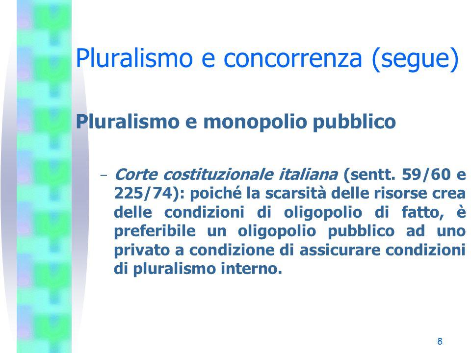 7 Pluralismo e concorrenza (segue) Pluralismo e monopolio pubblico - Consiglio costituzionale francese (sent. 217/86): spetta al legislatore eventualm