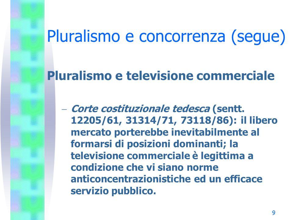 19 Pluralismo e concorrenza (segue) I mercati nazionali - Germania –La televisione gratuita è suddivisa in tre blocchi: Emittenti pubbliche (ARD e ZDF) con audience del 42%; Emittenti RTL di proprietà CLT-Bertelsmann (RTL, RTL2, Super RTL, Vox) con audience del 27%; Emittenti di proprietà Kirch (SAT 1, Kabel 1, Pro 7) con audience del 22%.