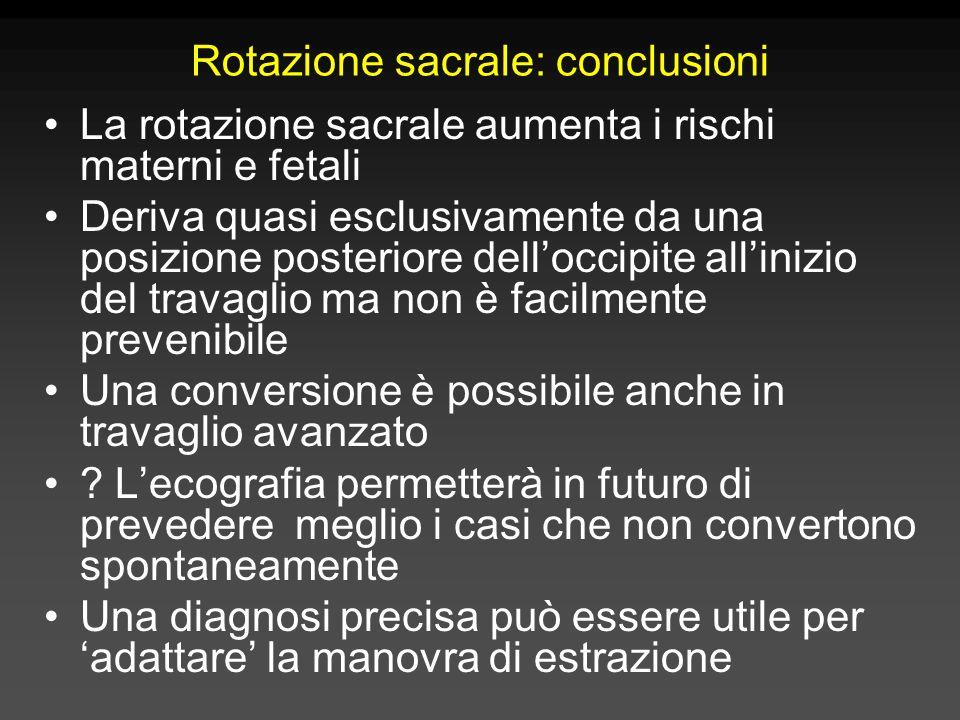 Rotazione sacrale: conclusioni La rotazione sacrale aumenta i rischi materni e fetali Deriva quasi esclusivamente da una posizione posteriore dell'occ