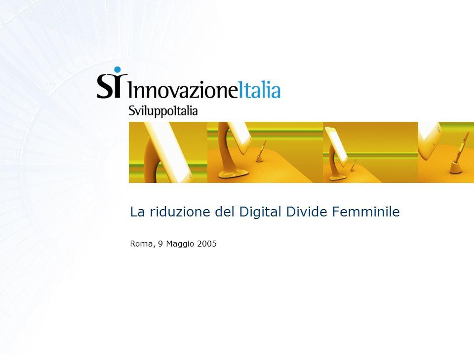 Agenda  Lo sviluppo della Società dell'Informazione  Il contributo di Innovazione Italia  L'integrazione tecnologica  Livelli attuali d'uso delle tecnologie  Cultura tecnologica e Digital Divide femminile  Piano d'azione  Modello formativo  Modello di collaborazione a distanza  Ruolo delle istituzioni  Prossimi passi