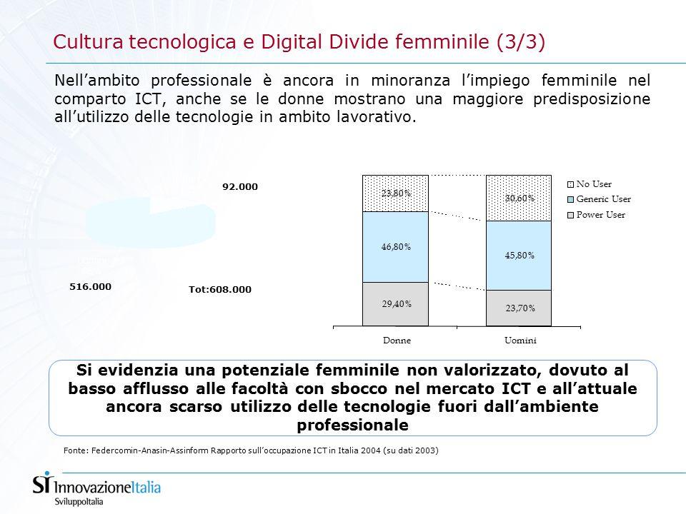 Nell'ambito professionale è ancora in minoranza l'impiego femminile nel comparto ICT, anche se le donne mostrano una maggiore predisposizione all'utilizzo delle tecnologie in ambito lavorativo.