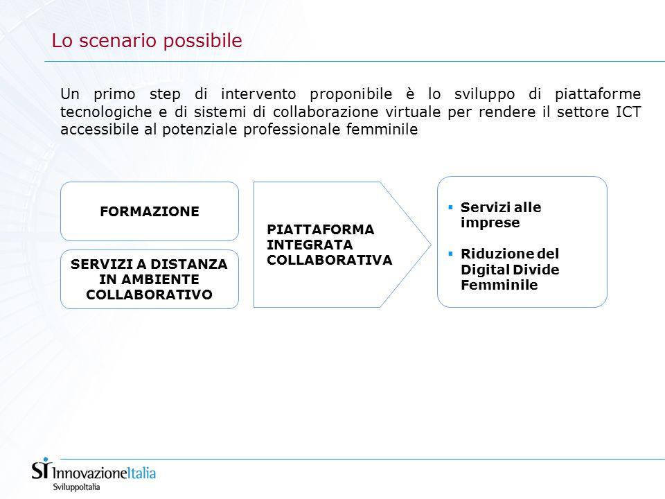Lo scenario possibile Un primo step di intervento proponibile è lo sviluppo di piattaforme tecnologiche e di sistemi di collaborazione virtuale per rendere il settore ICT accessibile al potenziale professionale femminile FORMAZIONE PIATTAFORMA INTEGRATA COLLABORATIVA  Servizi alle imprese  Riduzione del Digital Divide Femminile SERVIZI A DISTANZA IN AMBIENTE COLLABORATIVO