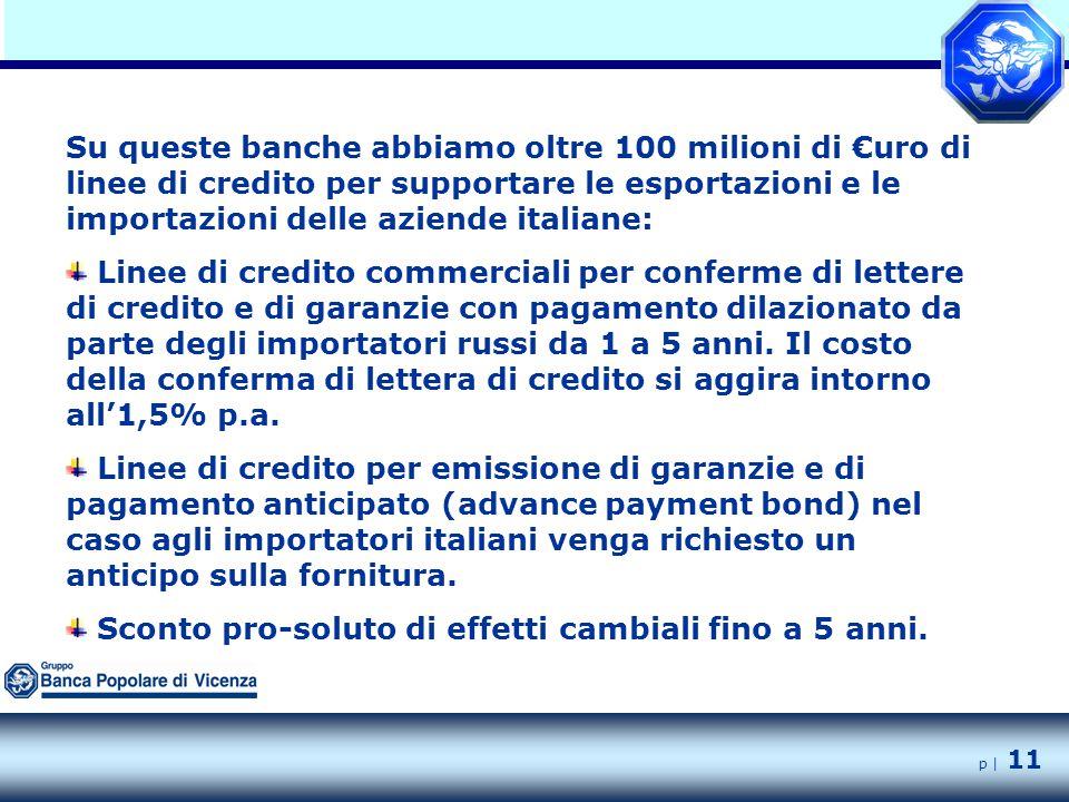 p | 11 Su queste banche abbiamo oltre 100 milioni di €uro di linee di credito per supportare le esportazioni e le importazioni delle aziende italiane: Linee di credito commerciali per conferme di lettere di credito e di garanzie con pagamento dilazionato da parte degli importatori russi da 1 a 5 anni.