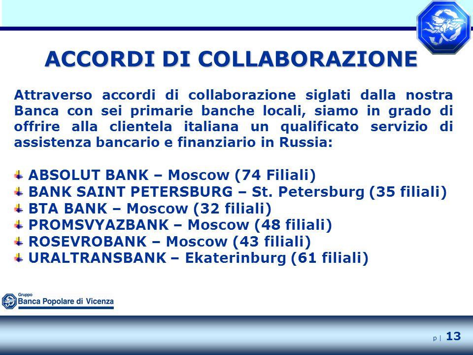 p | 13 Attraverso accordi di collaborazione siglati dalla nostra Banca con sei primarie banche locali, siamo in grado di offrire alla clientela italiana un qualificato servizio di assistenza bancario e finanziario in Russia: ABSOLUT BANK – Moscow (74 Filiali) BANK SAINT PETERSBURG – St.