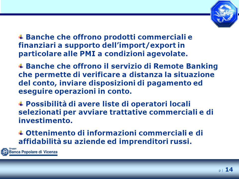 p | 14 Banche che offrono prodotti commerciali e finanziari a supporto dell'import/export in particolare alle PMI a condizioni agevolate.