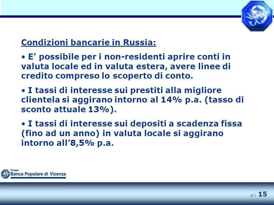 p | 15 Condizioni bancarie in Russia: E' possibile per i non-residenti aprire conti in valuta locale ed in valuta estera, avere linee di credito compreso lo scoperto di conto.