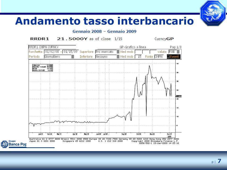 p | 7 Andamento tasso interbancario Gennaio 2008 – Gennaio 2009