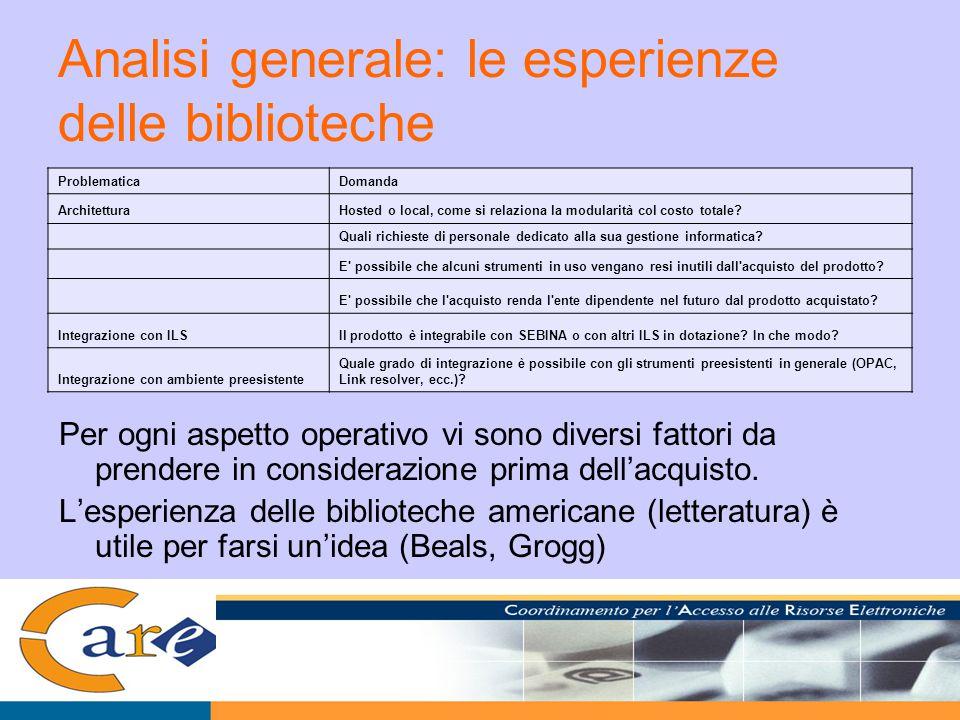 Analisi generale: le esperienze delle biblioteche Per ogni aspetto operativo vi sono diversi fattori da prendere in considerazione prima dell'acquisto.