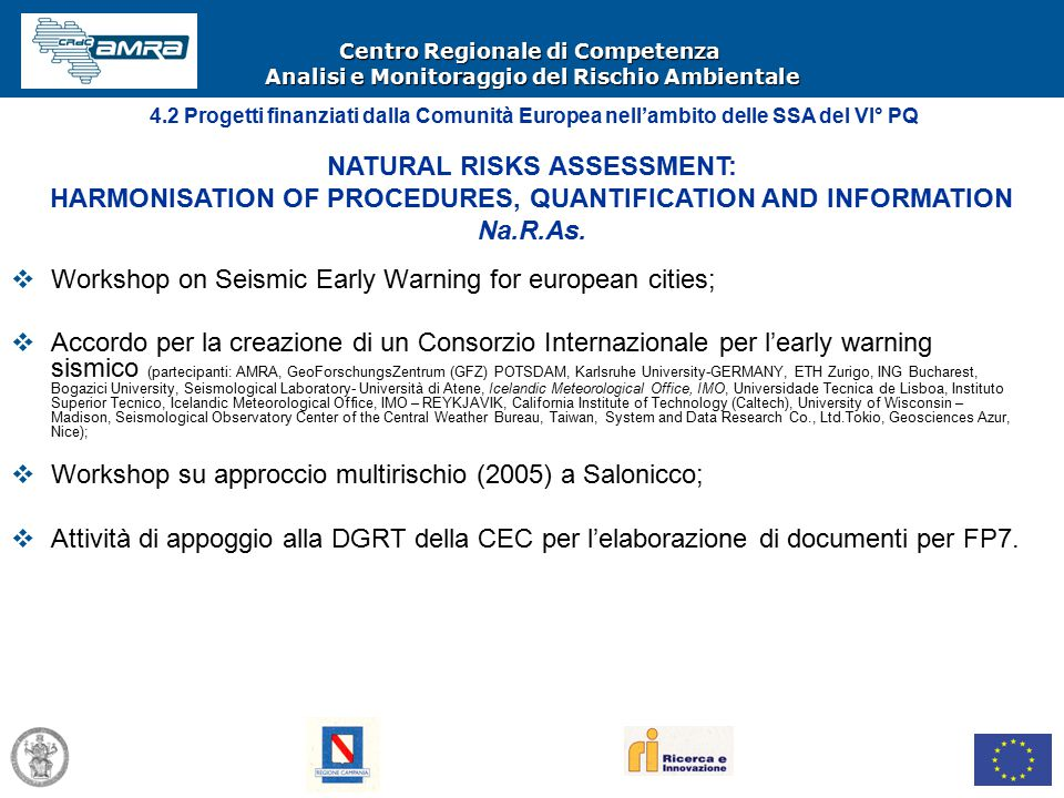 Centro Regionale di Competenza Analisi e Monitoraggio del Rischio Ambientale  Workshop on Seismic Early Warning for european cities;  Accordo per la creazione di un Consorzio Internazionale per l'early warning sismico (partecipanti: AMRA, GeoForschungsZentrum (GFZ) POTSDAM, Karlsruhe University-GERMANY, ETH Zurigo, ING Bucharest, Bogazici University, Seismological Laboratory- Università di Atene, Icelandic Meteorological Office, IMO, Universidade Tecnica de Lisboa, Instituto Superior Tecnico, Icelandic Meteorological Office, IMO – REYKJAVIK, California Institute of Technology (Caltech), University of Wisconsin – Madison, Seismological Observatory Center of the Central Weather Bureau, Taiwan, System and Data Research Co., Ltd.Tokio, Geosciences Azur, Nice);  Workshop su approccio multirischio (2005) a Salonicco;  Attività di appoggio alla DGRT della CEC per l'elaborazione di documenti per FP7.