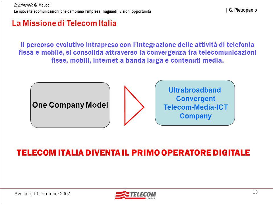 13 In principio fu Meucci Le nuove telecomunicazioni che cambiano l'impresa. Traguardi, visioni,opportunità | G. Pietropaolo Avellino, 10 Dicembre 200