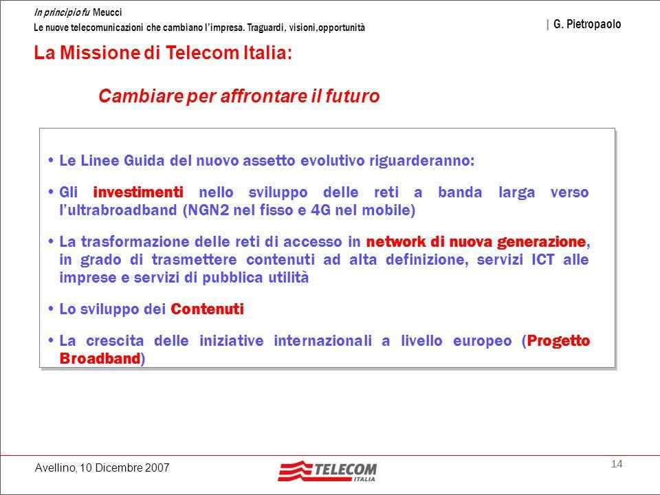 14 In principio fu Meucci Le nuove telecomunicazioni che cambiano l'impresa. Traguardi, visioni,opportunità | G. Pietropaolo Avellino, 10 Dicembre 200