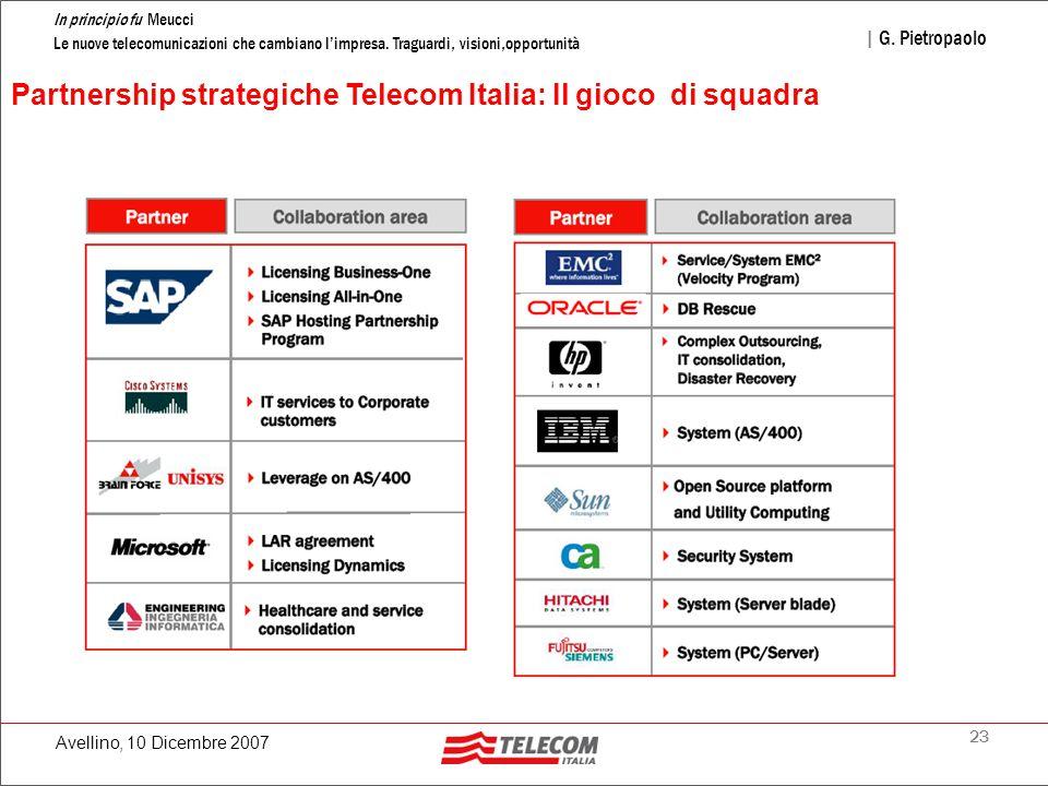 23 In principio fu Meucci Le nuove telecomunicazioni che cambiano l'impresa. Traguardi, visioni,opportunità | G. Pietropaolo Avellino, 10 Dicembre 200