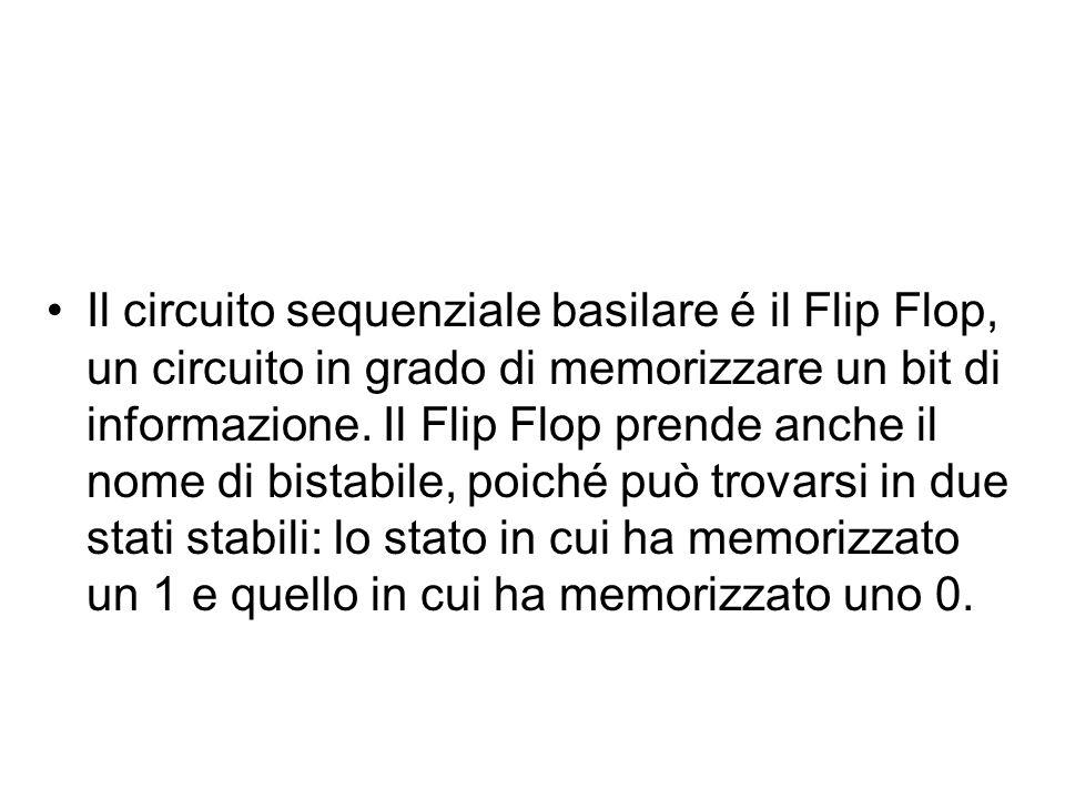 Il circuito sequenziale basilare é il Flip Flop, un circuito in grado di memorizzare un bit di informazione. Il Flip Flop prende anche il nome di bist