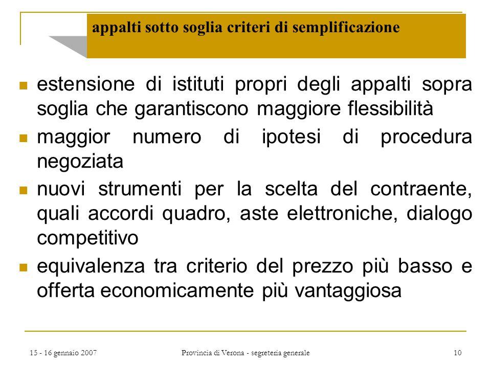 15 - 16 gennaio 2007 Provincia di Verona - segreteria generale 10 appalti sotto soglia criteri di semplificazione estensione di istituti propri degli